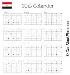2016 Calendar with the Flag of Egypt