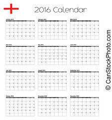 2016 Calendar with the Flag of England