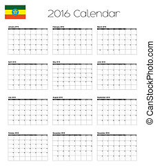 2016 Calendar with the Flag of Ethiopia