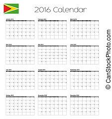 2016 Calendar with the Flag of Guyana