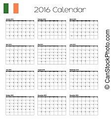 2016 Calendar with the Flag of Ireland