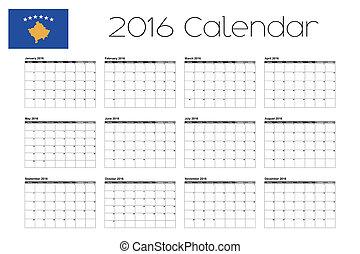 2016 Calendar with the Flag of Kosovo