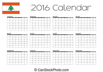 2016 Calendar with the Flag of Lebanon