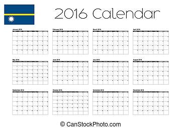 2016 Calendar with the Flag of Nauru