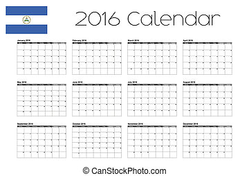 2016 Calendar with the Flag of Nicaragua