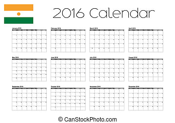 2016 Calendar with the Flag of Niger