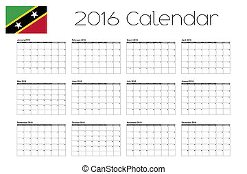 2016 Calendar with the Flag of Saint Kitts and Nevis