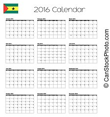 2016 Calendar with the Flag of Sao Tome E Principe