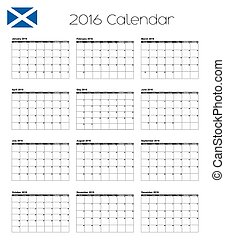 2016 Calendar with the Flag of Scotland