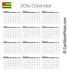 2016 Calendar with the Flag of Togo