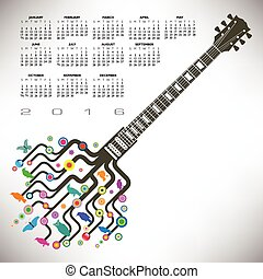 A 2016 Colorful guitar calendar