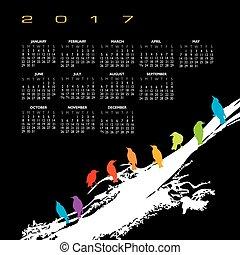 A 2017 calendar with a flock of birds