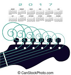 A 2017 calendar with a guitar with curly strings