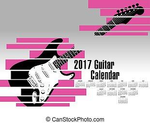 2017 calendar with an abstract shredded guitar
