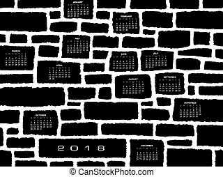A 2018 calendar made from a stone wall