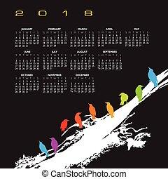 A 2018 calendar with a flock of birds