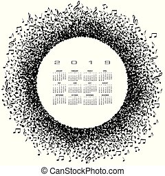 A 2019 music calendar with a circle of notes