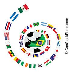 a, 32, brigád, alatt, brazília, 2014, világ, c-hang