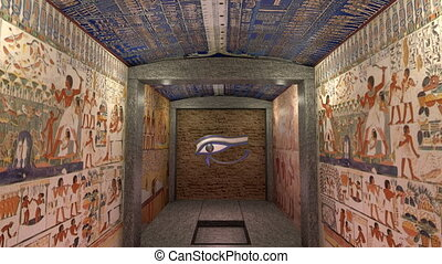 A 3D animation of a tomb in ancient Egypt. A greenscreen at...