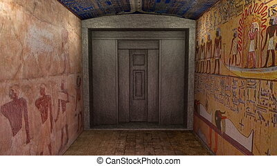 A 3D animation of a tomb in ancient Egypt. A greenscreen...