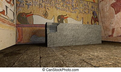 A 3D animation of a tomb in ancient Egypt. With...