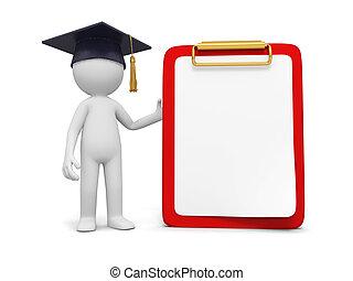 bachelor - A 3d bachelor standing besides a message board