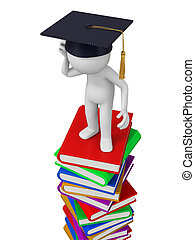 bachelor - A 3d bachelor standing on a stack of books. ...
