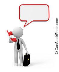 dialog - A 3d businessman talking with a telephone ,a dialog...