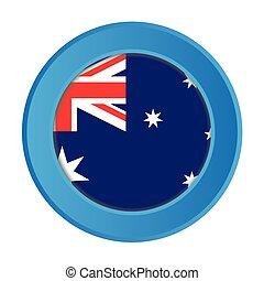3D Button with the Flag of Australia