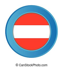 3D Button with the Flag of Austria