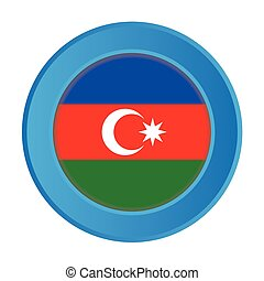 3D Button with the Flag of Azerbaijan