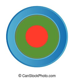 3D Button with the Flag of Bangladesh