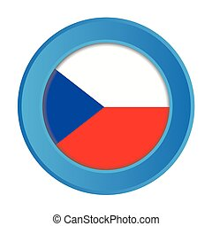 3D Button with the Flag of Czech Republic