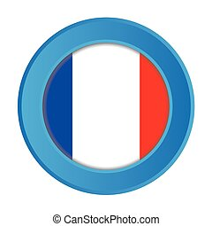 3D Button with the Flag of France