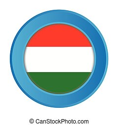 3D Button with the Flag of Hungary