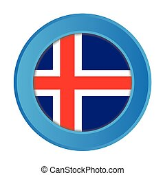 3D Button with the Flag of Iceland