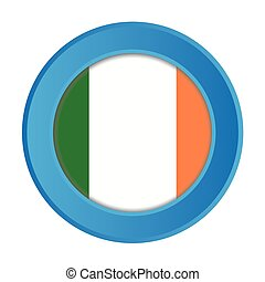 3D Button with the Flag of Ireland