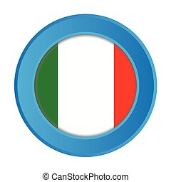 3D Button with the Flag of Italy