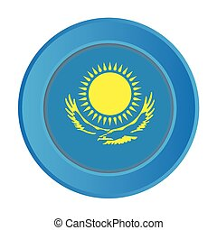 3D Button with the Flag of Kazakstan
