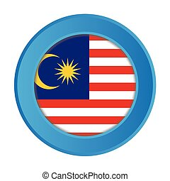 3D Button with the Flag of Malaysia