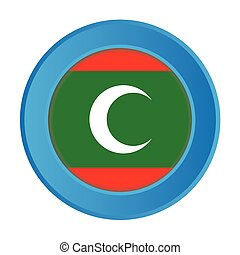 3D Button with the Flag of Maldives