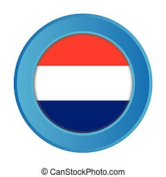 3D Button with the Flag of Netherlands