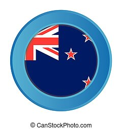 3D Button with the Flag of New Zealand