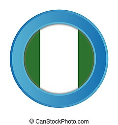 3D Button with the Flag of Nigeria