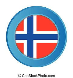 3D Button with the Flag of Norway