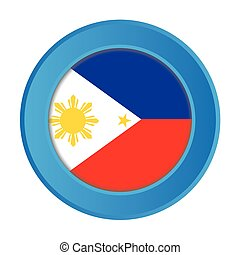3D Button with the Flag of Philippines