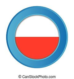 3D Button with the Flag of Poland