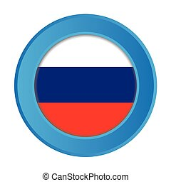 3D Button with the Flag of Russia