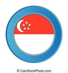 3D Button with the Flag of Singapore