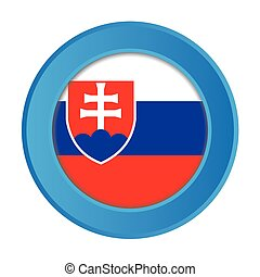 3D Button with the Flag of Slovakia
